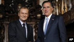 Romney meets with Poland's Prime Minister Donald Tusk in Gdansk, Poland, July 30, 2012.