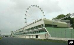 미북정상회담 미디어센터가 들어설 싱가포르 마리나베이 포뮬러원(F1) 경기장 건물.