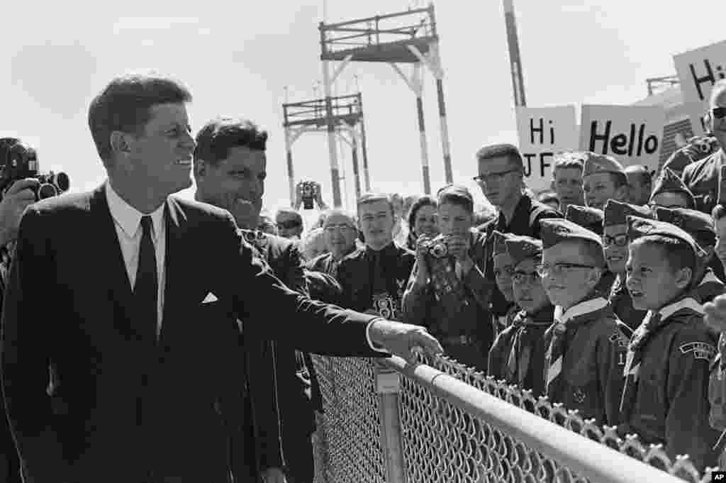 JFK Greeted By Boy Scouts