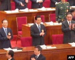温家宝、胡锦涛、吴邦国(从左至右)等国家领导人出席会议