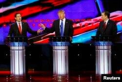 Cumhuriyetçi aday adayları, Marco Rubio, Donald Trump ve Ted Cruz