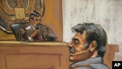 Suspect Manssor Arbabsiar is shown in a courtroom sketch during an appearance in a Manhattan courtroom in New York, October 11, 2011.