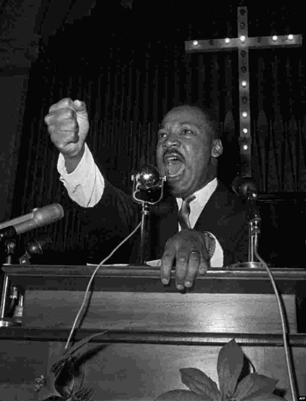 Dr. Martin Luther King Jr. during a speech in Eutaw, Alabama, June 1965. (AP)