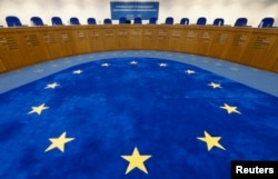 FILE - A general view of the plenary room of the European Court of Human Rights in Strasbourg.