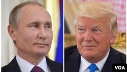 Presiden Rusia, Vladimir Putin (kiri) dan Presiden AS, Donald Trump.