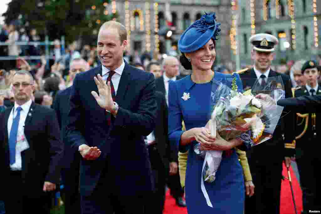 Britain's Prince William, and Catherine, Duchess of Cambridge, attend a welcome ceremony at the British Columbia Legislature in Victoria, British Columbia, Canada, Sept. 24, 2016.