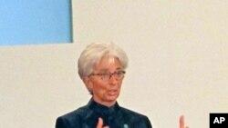 國際貨幣基金組織的總裁拉加德星期一在北京中國發展高層論壇上發表講話