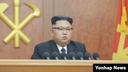 朝鲜领导人金正恩发表新年讲话。(资料照片)