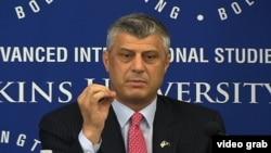 Kosovo Prime Minister Hashim Thaci speaking at SAIS