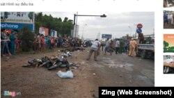 Hiện trường vụ tai nạn ở huyện Bến Lức, Long An, ngày 2/1/2019.