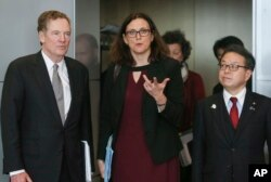 EU Commissioner for Trade Cecilia Malmstroem, center, Japanese Minister for Economy, Trade and Industry Hiroshige Seko, right, and US Trade Representative Robert Lighthizer, pose for photographers prior to a meeting at EU headquarters in Brussels, March 10, 2018.