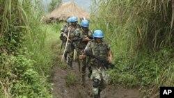 Walinda amani wa umoja wa mataifa wakifanya doria mashariki mwa Congo