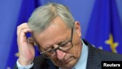 欧盟委员会主席容克2015年7月1日在欧盟委员会位于布鲁塞尔的总部举行记者会。