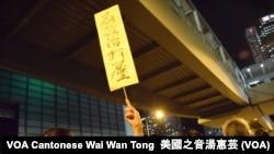 示威者高舉標語。攝影:美國之音湯惠芸