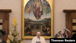 Pope Francis delivers Angelus prayer from Vatican Apostolic Library