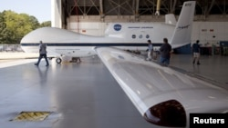 The Global Hawk is pictured at the aircraft hangar of NASA's Wallops Flight Facility in Wallops Island, Virginia, September 7, 2012.
