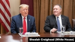 پرزیدنت ترامپ و مایک پمپئو، اتاق ملاقات کابینه در کاخ سفید