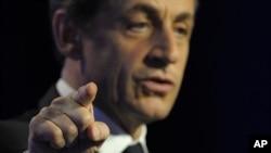 法國總統薩科齊星期四在法國尼姆發表講話