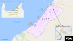 Peta Dubai dan letak bandara internasional Dubai.