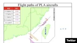 台湾空军2020年9月19日发布中国解放军在台湾附近空域活动路径图(台湾国防部推特)