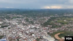 "A bird's-eye view of Loei provincial city, in Thailand on July 23, 2016. The Thai government is planning to build ""the biggest"" water diversion project to get water from the Mekong River. (Neou Vannarin/VOA Khmer)"