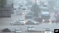 침수된 서울의 도로