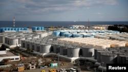 FILE - Storage tanks for radioactive water are seen at Tokyo Electric Power Co's tsunami-damaged Fukushima Daiichi nuclear power plant in Okuma town, Fukushima prefecture, Japan, Feb. 18, 2019.