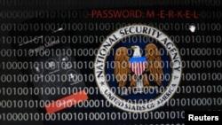 Ilustración difundida en Alemania simulando que la NSA interceptó el teléfono de la jefa de gobierno de ese país, Ángela Merkel.