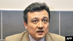 FILE - World Uyghur Congress leader Dolkun Isa has received a rights award in the United States, angering Chinese officials who consider him a terrorist. He's shown in 2008.