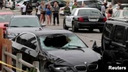 Chiếc xe được cho là của tay súng tại hiện trường, Santa Barbara, ngày 24 tháng 5, 2014.