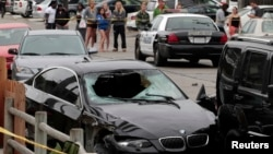 Así quedó tras el choque el vehículo que conducía el victimario.