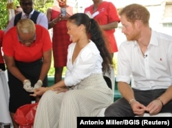 دیدار شاهزاده هری بریتانیا و ریانا از باربادوس در روز جهانی ایدز
