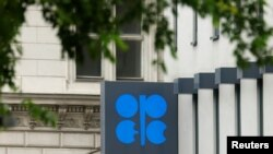 FILE - The logo of the Organization of the Petroleum Exporting Countries (OPEC) is pictured at its headquarters in Vienna, Austria, May 30, 2016.