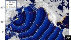 ຮູບກາຟຣິກ ຂອງອົງການຄຸ້ມຄອງມະຫາສະມຸດ ແລະບັນຍາກາດແຫ່ງຊາດ ຂອງສະຫະລັດ (NOAA) ທີ່ສະແດງໃຫ້ເຫັນ ການກະປະມານເວລາ ໃນການເດີນທາງຂອງຟອງຍັກສຸນາມິ ຫຼັງຈາກເກີດແຜ່ນດິນໄຫວ ຂະໜາດແຮງ ນອກແຄມຝັ່ງຍີ່ປຸ່ນ (11 ມີນາ 2011)