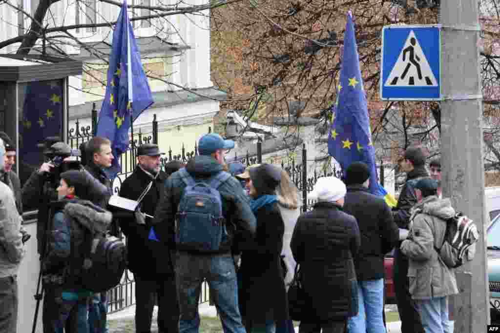 Митинг в поддержку евроинтеграции Украины оказался интересен двум десяткам украинцев