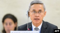 New Independent Expert on protection against violence and discrimination based on sexual orientation and gender identity, Thai Vitit Muntarbhorn, addresses a session of United Nations Human Rights Council on June 6, 2017 in Geneva.