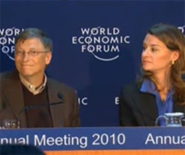 Bill and Melinda Gates unveil a $10 billion vaccine initiative at the World Economic Forum in Davos, Switzerland, 29 January 2010