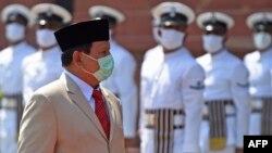 Menteri Pertahanan RI Jenderal Prabowo Subianto saat melawat ke New Delhi, India, 27 Juli 2020. (Foto: Money SHARMA / AFP)