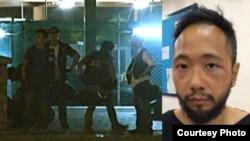 香港公民黨成員曾健超被拍到遭警員毆打受傷(蘋果日報圖片)