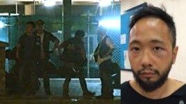 Hình ảnh video cho thấy cảnh sáu nhân viên công lực mặc thường phục lôi anh Tsang vào một góc tối của một tòa nhà, liên tục đánh đập nạn nhân (phải) trong suốt bốn phút đồng hồ.