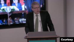 美國國防部印太事務代理助理部長海大衛(David Helvey)2020年1月7日在哈德遜研究所講話(哈德遜研究所畫面截圖)