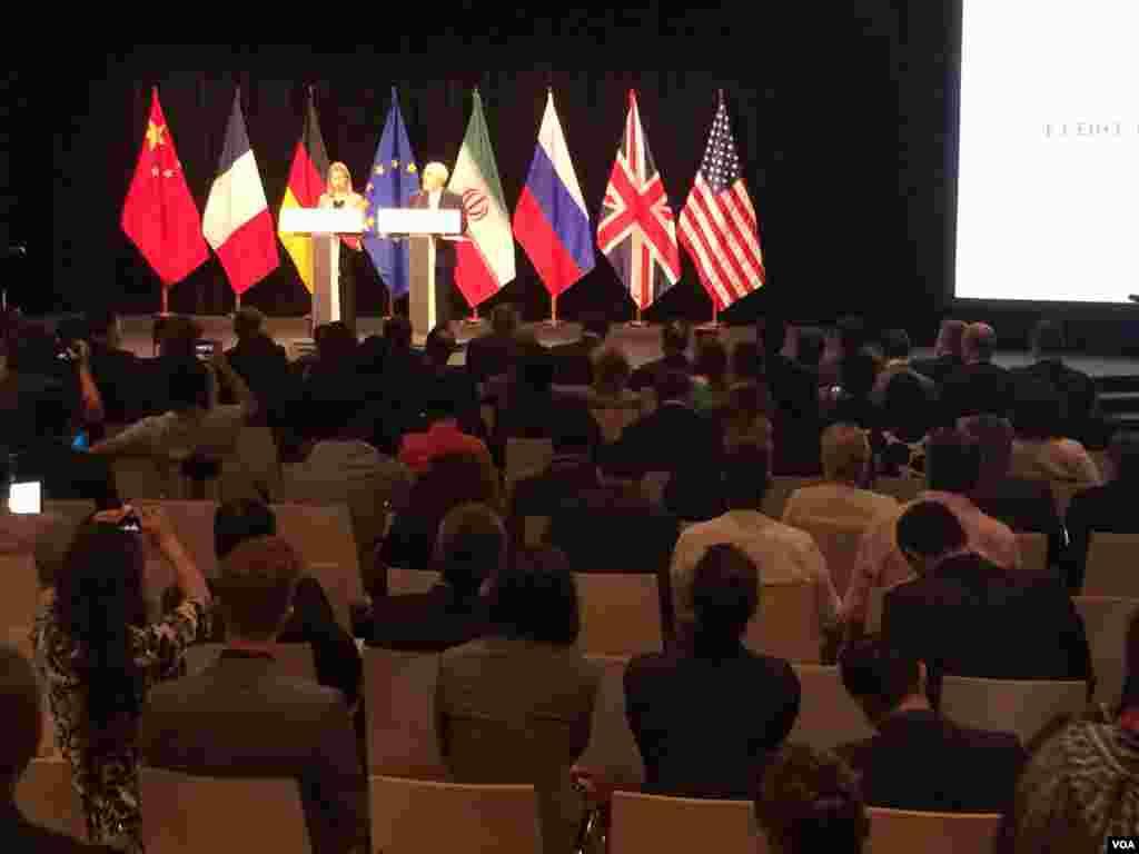 قرائت بیانیه پایانی مربوط به توافق جامع اتمی ایران و ۱+۵ توسط فدریکا موگرینی و محمدجواد ظریف