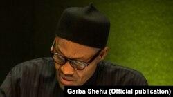 Shugaba Muhammadu Buhari, Shugaban Tarayyar Afirka Mai ci, a lokacin da ya ke jawabi a zauren taron