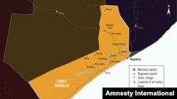 Map of Lower Shabelle, Somalia