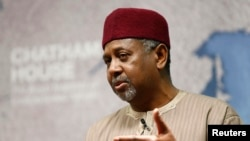 Nigeria's National Security Adviser Sambo Dasuki listens to a question after his address at Chatham House, London, Jan. 22, 2015.