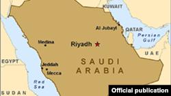 Peta wilayah Arab Saudi.
