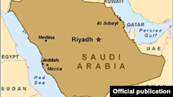 Carte de l'Arabie saoudite en anglais.