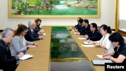 North Korea's Minister of Health Jang Jun Sang meets with the United Nations Under-Secretary-General for Humanitarian Affairs and Emergency Relief Coordinator Mark Lowcork in Pyongyang, North Korea, in this photo released July 11, 2018.