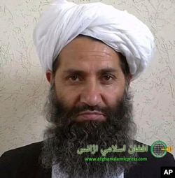 FILE - In this undated photo taken at an unknown location, the leader of the Taliban, Mullah Haibatullah Akhundzada, poses for a portrait. (Afghan Islamic Press via AP)