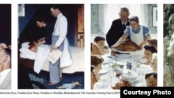 "American artist Norman Rockwell's ""Four Freedoms"" series from the traveling exhibition, ""Enduring Ideals: Rockwell, Roosevelt and the Four Freedoms."" (Courtesy: Normal Rockwell Museum)"